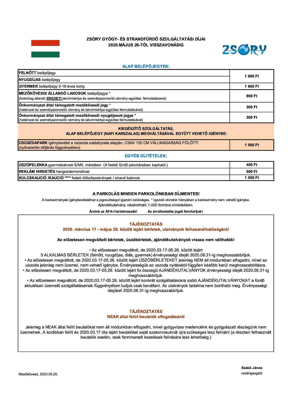 együttes kezelési árak)